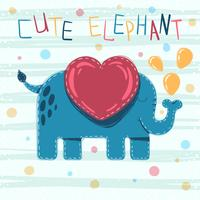 Gullig baby elefant - tecknad illustration