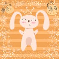 Nette kleine Prinzessin - Kaninchenkarikatur.