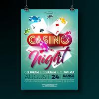 Vector Casino natt flygblad illustration med spel designelement och glänsande neon ljus bokstäver