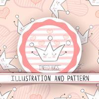 Comic-Krone Zeichen. Süße Illustration und Muster. vektor