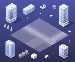 Stadtset moderner Wolkenkratzer vektor