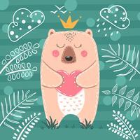 Söt prinsessebjörn - tecknad illustration.