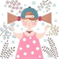 Gullig, vacker flicka Tecknad illustration