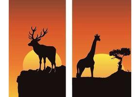 Tiere am Sonnenuntergang Vektor Wallpaper Pack