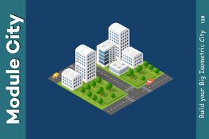 Set av isometrisk skyskrapor gata
