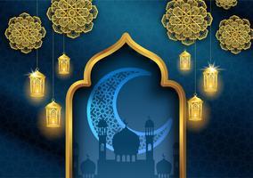 ramadan kareem eller eid mubarak islamisk hälsningskortdesign med guld lantern och halvmåne månen vektor