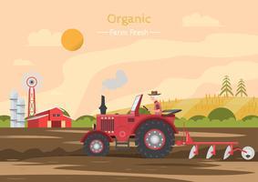 Jordbruksarbete på ett fält med traktor. vektor