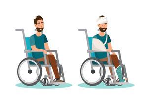 Mann sitzt auf einem Rollstuhl mit weißem Hintergrund vektor