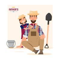Glad fars dag. dotter kramar sin pappa