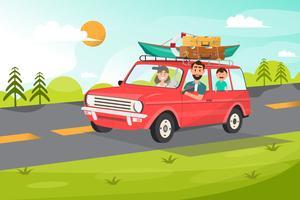Glad familj. Fader, mamma och barn ska resa med bil med naturbakgrund