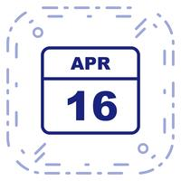 16 april Datum på en enkel dagskalender