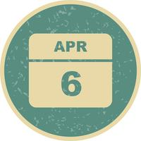 6 april Datum på en enkel dagskalender
