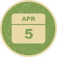 5. April Datum für einen Tagkalender