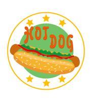 logo hot dog för snabbmat vektor illustration