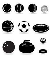 stellen Sie schwarze Schattenbild-Vektorillustration der Ikonensportbälle ein