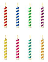 Kerzen für die Geburtstagstorte-Vektorillustration