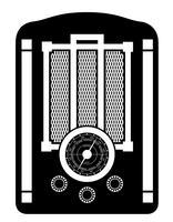 radio gammal retro vintage ikon lager vektor illustration svart skiss silhuett