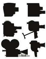 gammal retro vintage film videokamera svart silhuett vektor illustration