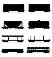 set ikoner järnvägsvagn tåg svart skiss silhuett vektor illustration