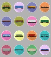 Stellen Sie Ikonen Eisenbahnwagenzug flache Ikonen-Vektorillustration ein