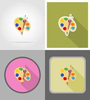 Vektor-Illustration von Palette und Pinsel flache Ikonen vektor
