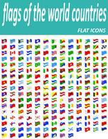 sätta flaggor i världen länder platta ikoner vektor illustration
