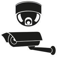 svartvita ikoner av övervakningskameror