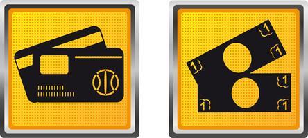 Ikonenkarte und -bargeld für Designvektorillustration