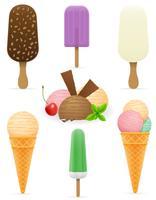 stellen Sie verschiedene Eiscreme-Vektorillustration der Ikonen ein