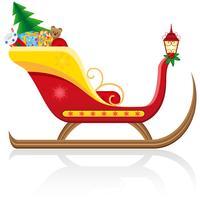 Weihnachtsschlitten von Weihnachtsmann mit Geschenken vector Illustration