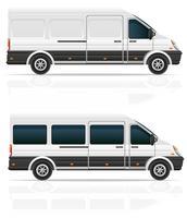 Minibus für die Beförderung von Fracht- und Passagiervektorillustration