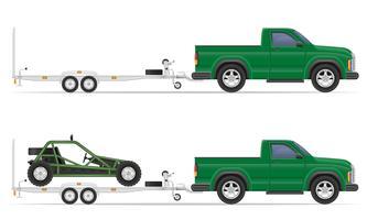 bil pickup med trailer vektor illustration
