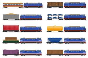set ikoner järnväg tåg med lokomotiv och vagnar vektor illustration