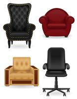 set ikoner fåtölj möbler vektor illustration