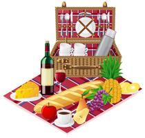 Korb für ein Picknick mit Geschirr und Lebensmitteln vektor