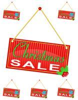 roter Zeichenaufkleber mit dem Aufschriftweihnachtsverkauf, der an einer Seilvektorillustration hängt