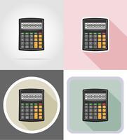 Gesetzte flache Ikonen der Taschenrechner-Schreibwarenausrüstung vector Illustration