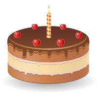 Schokoladenkuchen mit Kirschen und brennender Kerzenvektorillustration vektor