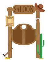 Türen im westlichen Saal Wildwest-Vektor-Illustration