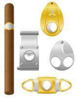 Zigarre und Schneider-Vektor-Illustration