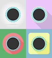 gasbrännare hushållsapparater för kök platt ikoner vektor illustration