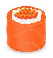 sushi rullar i röd fisk vektor illustration