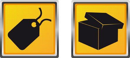 ikoner etikett och låda för design vektor illustration