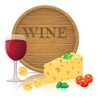 Stillleben mit Käse- und Weinvektorillustration