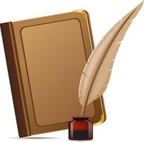 Buch und Feder mit Tinten