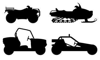 Set Icons atv Automobil aus Straßen schwarze Silhouette Silhouette Vektor-Illustration
