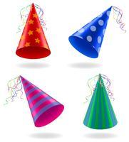 uppsättning ikoner kepsar för födelsedag firandet vektor illustration