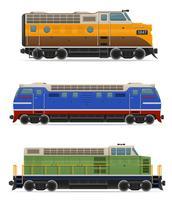 set ikoner järnväg lokomotiv tåg vektor illustration