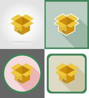 Ikonen-Vektorillustration der Lieferungspappschachtel flache vektor