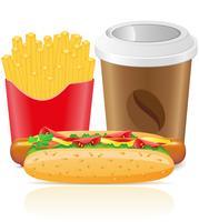 Hotdog Pommes frites Kartoffel und Pappbecher mit Kaffee